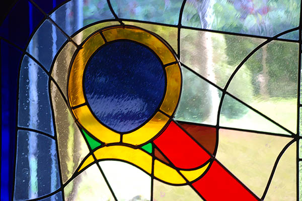 Stained glass at Newbury Meeting