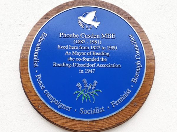 Blue plaque on birthplace of Phoebe Cusden