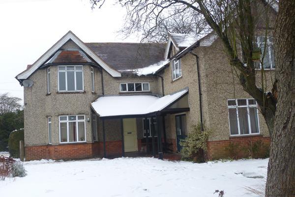 Newbury meeting house in snow