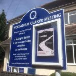 The new noticeboard outside Wokingham Quaker meeting house