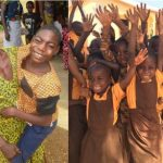 Photo of some of the people supported by the charity ATE. On the left, a young man with disabilities and his mother. On the right a group of schoolchildren who have meals provided by ATE