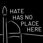 sketch of mosque with words 'hate has no place here'