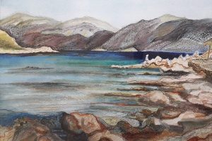 Painting of coastal scene with mountains, which will be on display at the Reading quakers heritage exhibition