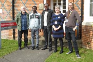 Group outside the Reading Uni chaplaincy: (L-R) Roland (Reading Quakers), Michael (student), Letlapa Mphahlele, Angela (Quaker chaplain), Mark (Anglican chaplain)