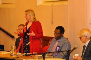 Parliamentary candidates from the Labour and Christian People's Alliance parties at the Reading Quakers' general election hustings November 2019