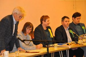 Parliamentary candidates from the Liberal Democrat and Green parties at the Reading Quakers' general election hustings November 2019