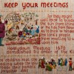 Panel from the Quaker tapestry showing children from Reading Meeting keeping the meeting going when all the adults were in prison.