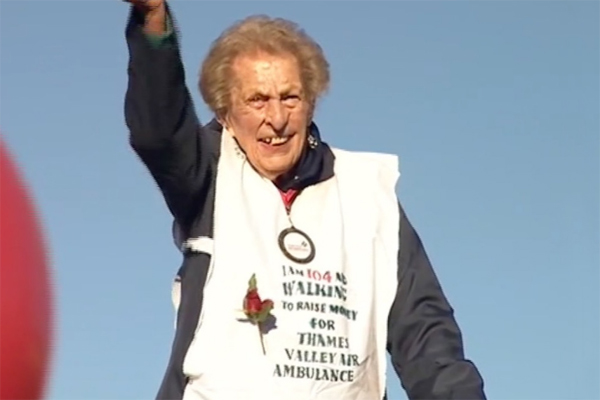 Ruth Saunders age 104 walked a Marathon for charity