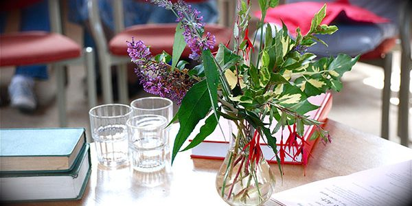 flowers on the table at Meeting for Worship